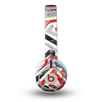 The Red-Gray-Black Abstract V3 Pattern Skin for the Beats by Dre Mixr Headphones