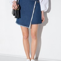 Denim Frayed Wrap Mini Skirt