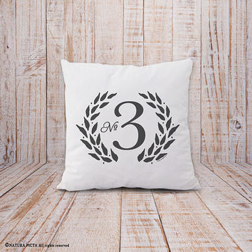 Number pillow-nuber pillow cover-french pillow-french number pillow-shabby chic pillow-custom number pillow-home decor-NATURA PICTA-NPCP043