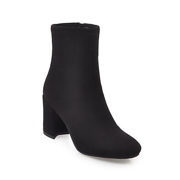 Faux Suede Slip On Chunky Heeled Ankle Boots 9677