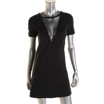 Timo Weiland Womens Seersucker Short Sleeves Casual Dress