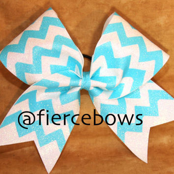 Neon and White Glitter Chevron Cheer Bow