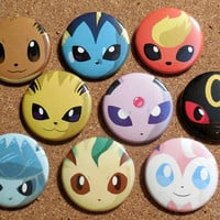 Pokemon - Eeveelution Button Set - Eevee, Vaporeon, Flareon, Jolteon, Espeon, Umbreon, Leafeon, Glaceon & Sylveon - Anime/Video Game pin