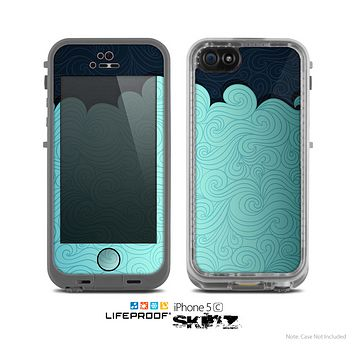 The Aqua Green Abstract Swirls with Dark Skin for the Apple iPhone 5c LifeProof Case