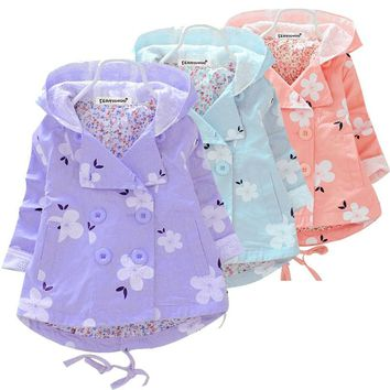 Spring Autumn Baby Girls Hooded Jacket Coat Double Breasted Cardigan Infant Baby Kids Lace Coat Children Outwear