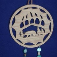 Bear Dream Catcher With Bear Scene Inside Paw Print Handcrafted Wood