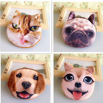 women casual coin purse high quality plush dog purses fashion card holder ladies small handmade cloth bags children wallet
