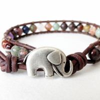 Gemstone surprise, hipster elephant bracelet made to order, good luck bracelet, lucky, republican elephant, brown distressed leather