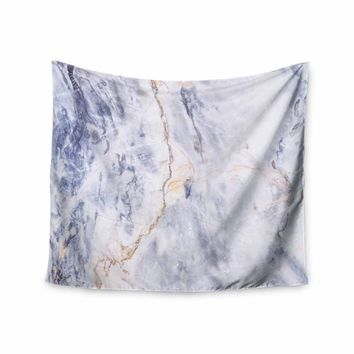 Light Marble - Blue White Geological Photography Wall Tapestry