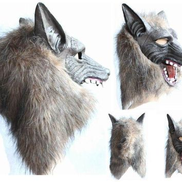 Werewolf Halloween Mask Big Bad Wolf Adult Full Head Wolf Mask Costume Accessory Party Masks