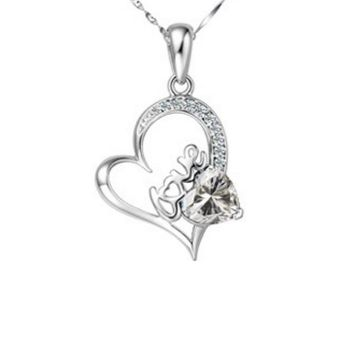 Cubic Zirconia Diamond Heart Pendant Necklace