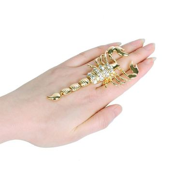 new design scorpion shape gold&silver alloy and set with ring for women personality animal vintage jewelry elastic ring