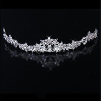 Trendy Bridal Rhinestone Crystal Flower Crown Headband Veil Tiara Wedding Prom New (Color: Silver) [7982966023]