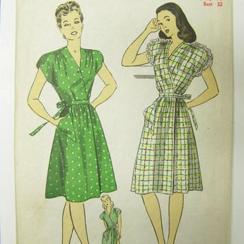 SWEET Vintage 1940s DuBarry 6143 WRAP DRESS Pattern  sz 14 bust 32 COMplete