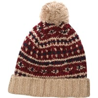 RED FAIRISLE PATTERN KNIT BOBBLE BEANIE