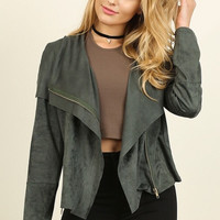 Suede Moto Jacket - Forest