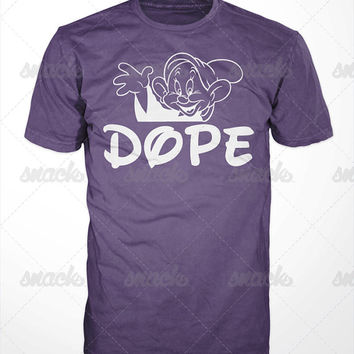 Dopey Dope T-Shirt - seven dwarfs, snow white, hip hop, funny, men, women, remix, parody, sick, ill, mickey, donald, disney, cartoon, tees