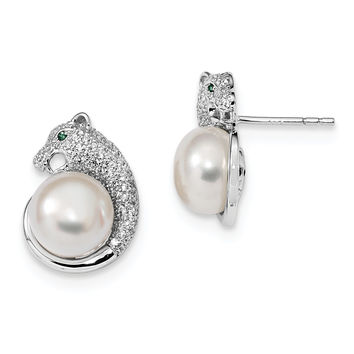 Sterling Silver RH-plated 9-10mm White FWC Pearl CZ Panther Earrings QE13867