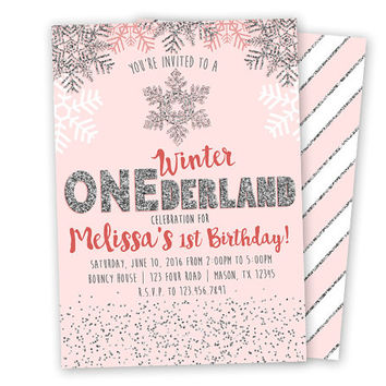 Pink Winter ONEderland Invitation - Pink and Silver 1st Birthday Invitations - Girl 1st Birthday Invite - Winter Wonderland Snowflakes Pink