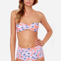 O'Neill Sunflower Neon Coral Floral Print Bustier Bikini