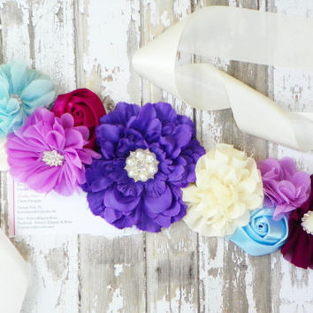 Victorian Maternity Sash, It's a Girl, It's a Boy, Purple Blue Ivory Sash, Photo Prop, Belly Band, Gender Reveal, Bridal Sash, Baby Prop