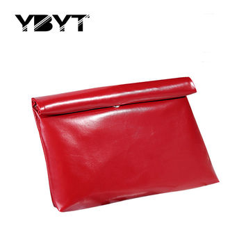 YBYT brand 2017 new fashion simple glossy PU leather envelope clutch large capacity ladies cell phone coin purses evening bags