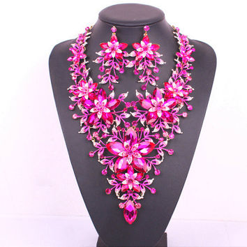 Popular big flower bridal jewelry set pink crystal gold plating prom wedding party necklace earring set accessories for women