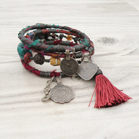 Silk Road Gypsy Bangle Stack - Jewel Tones - 4 Bohemian Tribal Bracelets, Silk Wrapped and Beaded