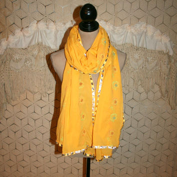 Saffron Yellow Scarf Cotton India Ethnic Dupatta Bohemian Sari Scarf Long Wide Beaded Fabric Scarf Cloth Scarf Ethnic Clothing Accessories
