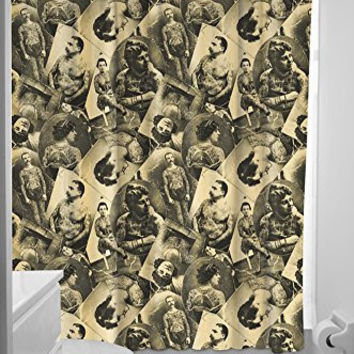Sourpuss Clothing Tattooed Old Timers Shower Curtain Tan