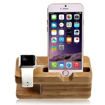 Bamboo Wood Charging Stand Bracket Docking Station Mounts Stands For Apple Watch