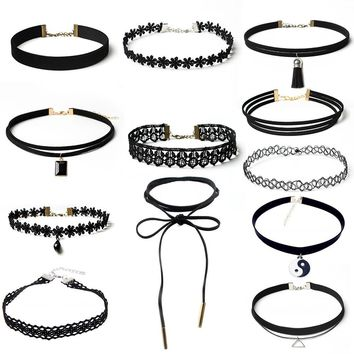 12Pieces Choker Necklace Set Stretch Velvet Classic Gothic Tattoo Lace Choker