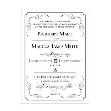 Elegant and Formal Great Gatsby Art Deco Inspired Wedding Invitation