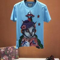 NEW 100% Authentic gucci 2018ss cat flower t shirt  ※035