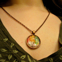 Mixed Media Jewelry Altered Art Necklace Tiny Watercolor Steampunk Jewelry Found Objects Original Art Vintage Photography Rainbow Tree
