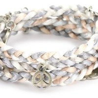 "Ettika ""Satin Cord"" Earth ""Satin Cord"" Braided Wrap Bracelet 10 Silver Charms"