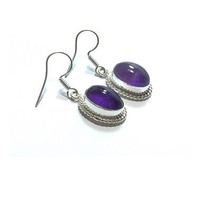 Amethyst  Earrings , Sterling Silver Earrings , Genuine  Amethyst  , Gift For Her