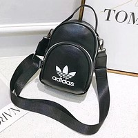 Adidas New fashion letter print leather backpack bag women Black