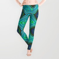Aqua Leggings by Gretzky | Society6