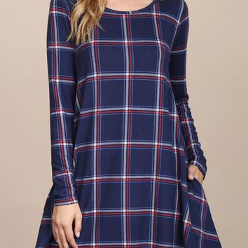Long Sleeved Plaid Pocket Tunic