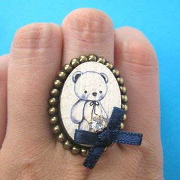 SALE - Teddy Bear Animal Ring Adjustable