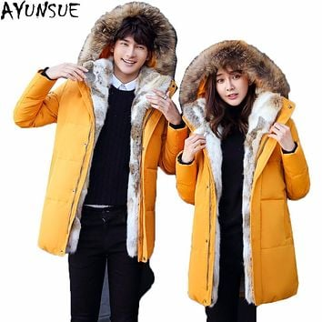 AYUNSUE 2017 New Brand Winter Jacket Men Duck Down Parksa Long Hooded Warm Faux Rabbit Fur Couple Clothing Plus Size 5XL LX1091