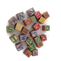 Viintage Toy Baby Blocks, Wooden, Letters and Animals, Painted, Antique Child's Toy, Photo Prop, 21 Blocks