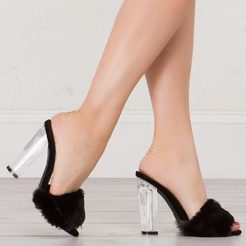Lucite Heel Fur Sandal in Black