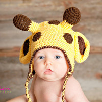crochet pattern giraffe hat with earflap-  sizes 0-3 month only