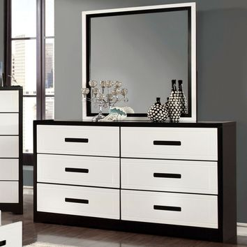 Burlings Modern 6-Drawer Dresser and Mirror in Black and White