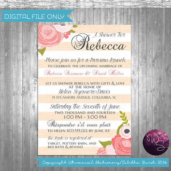 "Paris Bridal Shower Invitations ""Parisian Brunch"" Collection (Printable File Only) Pink Stripe Bridal Shower Brunch"