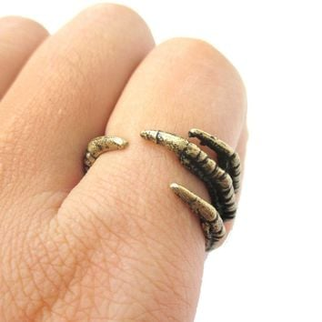 Realistic Animal Bird Claw Shaped Wrap Around Ring in Brass | Animal Jewelry