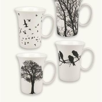 Crows In The Hedgerow Silhouette Mugs | Fall Trees Mugs
