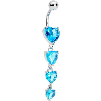 Blue CZ Gem Waterfall of Hearts Dangle Belly Ring